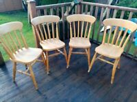 Pine Kitchen Chairs - Traditional Farmhouse Style - Set of 4, Good Condition