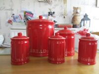 Kitchen containers for Bread, Biscuits, Tea, Coffee, Sugar. Red