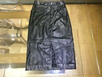 All Saints black leather Levitt Skirt size 8. Unworn