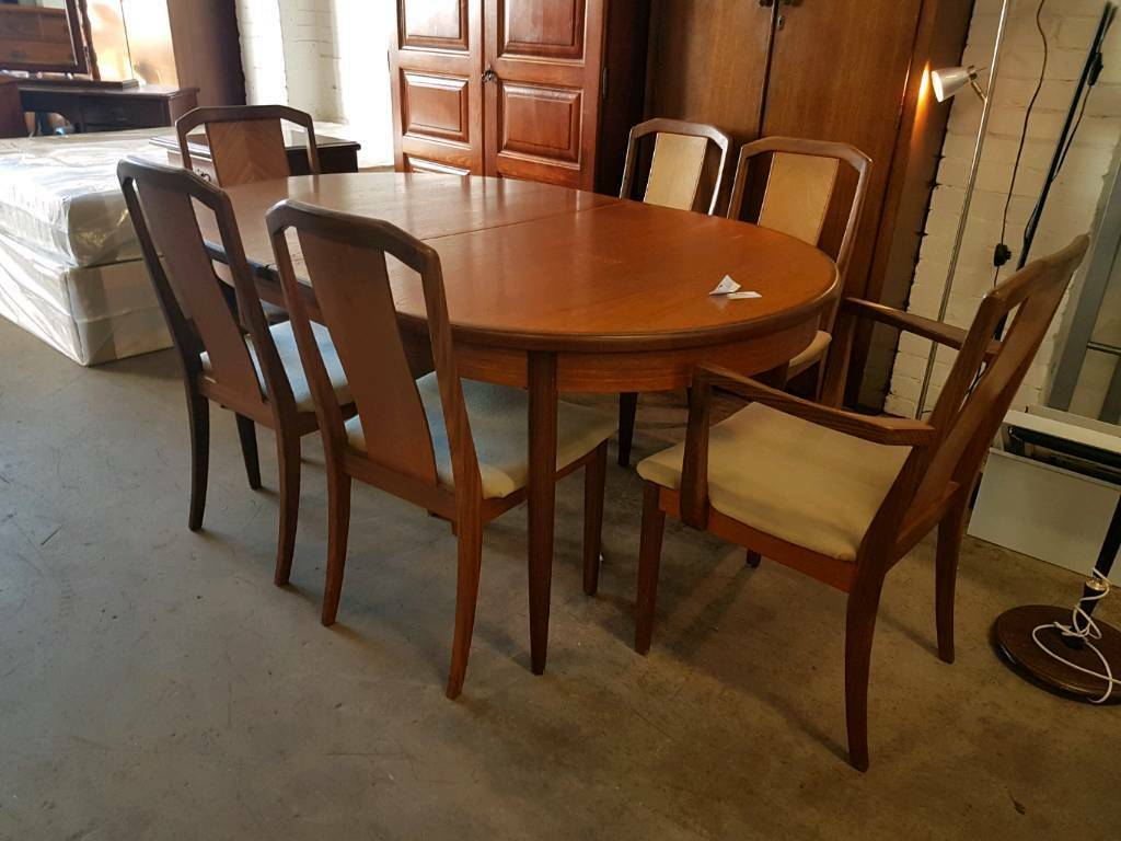Gplan large extendable table and six chairs