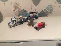 Lego City police transporter with helicopter