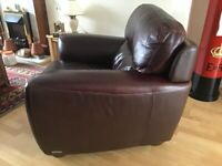 Pair of Dk Brown Leather Arm Chairs