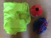 Sports bibs, cones and ball net football, rugby, hockey