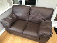 3 x Brown leather sofas (used)