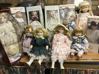 Collection of 12 porcelain dolls