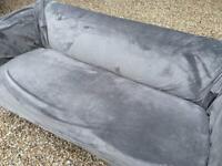 Modern style sofa with velvet grey cover