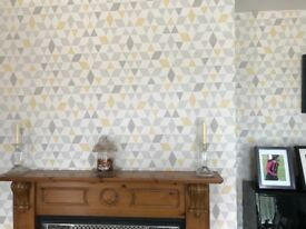 Grey and Yellow Geometric Triangles Wallpaper