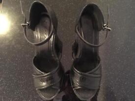Office black platform heels
