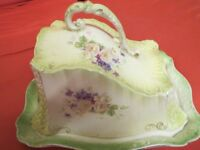 Beautiful Victorian cheese dish in lime green