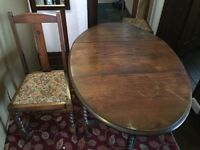 Oak Barley twist drop leaf table & 2 chairs free must collect