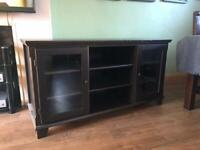 2 items: IKEA dark wood tv cabinet/sideboard and display cabinet