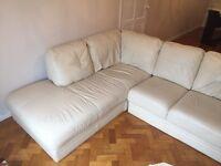 Sofa/Corner unit in cream leather.