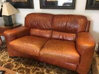 Two seater leather sofas * 2
