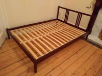 Ikea double bed FJELLSE painted in Farrow & Ball Brinjal