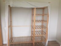 Cotton and pine wardrobe and shelving unit £30