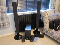 LG 5+1 Surround Sound Speaker System. Black High Gloss Finish.