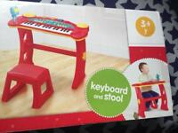 Kids keyboard and stool brand new in box