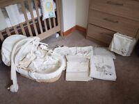 Moses basket and matching bedding bundle