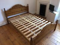 Solid pine bedframe. Extremely sturdy. Excellent condition
