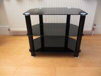BLACK GLASS 3 SHELF AV / TV STAND - GAMING / TV /Hi-Fi - NEW MINT CONDITION!