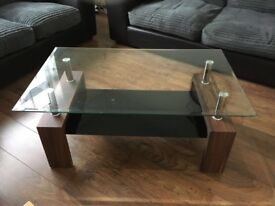 Two Matching Coffee Glass Top Coffee Table
