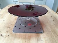 Glass cake stand, red