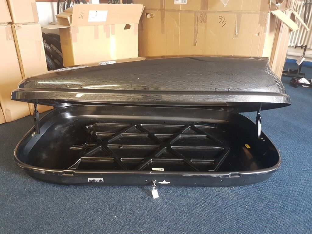 Halfords 460l Roof Box Carbon Effect With Working Lock
