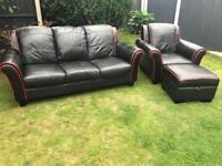 Black leather sofa suite from Dfs mint condition can deliver