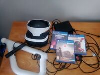 PS4 vr headset, with he's and gun