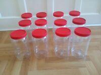 12 x PLASTIC JARS WITH LIDS 2 LITRE 2000ML + 6 x SMALL MINI PLASTIC JARS
