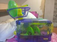 Hamster cage with wheel and slide