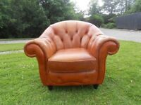 Chesterfield Button-Back Tan Leather Tub Chair