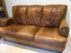 Brown soft leather 4 piece suite