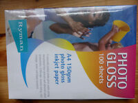 3 packs of Photo Gloss Paper, A4 size for inkjet printer. New and unopened packs.