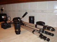 Practika BC 1 Electronic SLR Camera with fitted case, dedicated flash, separate zoom lense & tripod.