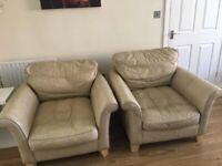 2 leather armchairs, cream/beige