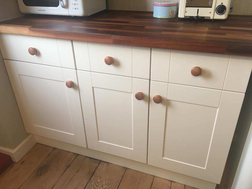 B&Q Triple Base / Drawer Kitchen Units & Walnut Worktop | in ...