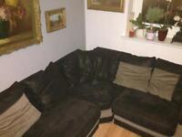 Dare corner sofa & matching swivel cuddle chair.