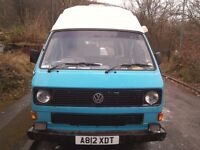 VW T25 hightop campervan. 1983 11 months MOT. Been in the family for 14 years and a good runner.