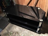 Quality Black Glass And Chrome TV Unit Good Condition Bargain Delivery Possible