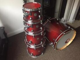 Mapex Meridian Maple 5 Piece Shell Pack Transparent Cherry Red Excellent Condition