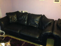 Leather sofa and two armchairs good/very good condition