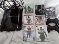 playstation 3 + 6 games and 2 controllers