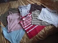 8 Women's strappy T-shirt tops size 18