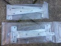 4x Four Galvanised Tee Hook & Band Hinges Gate Stable Garage Door