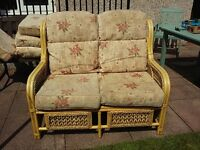 Cane sofa with two chairs