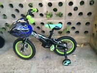 KIDS BOYS CHILDREN BEN 10 BLACK AGES 3-6 GREEN WITH HELMET AND STABILISERS BIKE BICYCLE