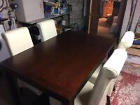 Modern Mahogany dining table & 4 Cream leather chairs.
