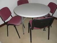 round collapsible table 116cm (3ft10in)& 4 chairs stackable