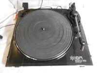 ION Pro Black Vinyl-To-MP3 USB Conversion LP Turntable